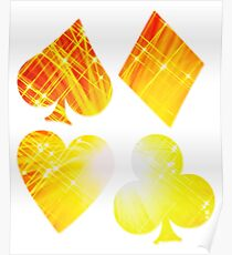 Hearts Diamonds Spades & Clubs Bright Playing Cards Design Poster
