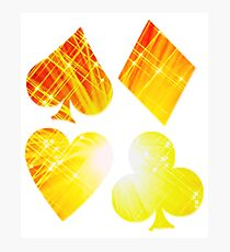 Hearts Diamonds Spades & Clubs Bright Playing Cards Design Photographic Print