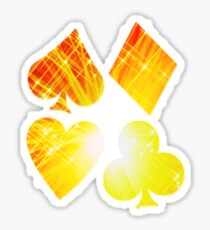 Hearts Diamonds Spades & Clubs Bright Playing Cards Design Sticker