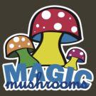 Magic mushrooms t-shirts by valizi