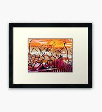 zany doodle-ink sunset Framed Print