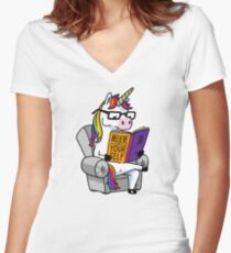 Unicorn Believe in Yourself Magical Fabulous Women's Fitted V-Neck T-Shirt
