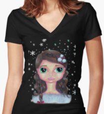 Winter Girl Women's Fitted V-Neck T-Shirt