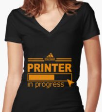 PRINTER Women's Fitted V-Neck T-Shirt