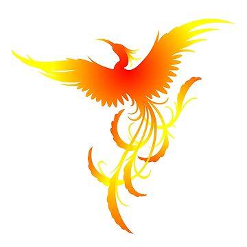Phoenix, Fiery Phoenix Watercolor Print by Jeditwins