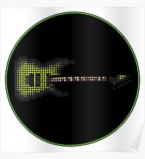 Tiled Pixel Green Burst Electric Guitar Poster
