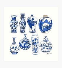 Blue Oriental Vases Art Print