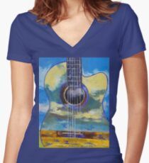 Guitar and Clouds Women's Fitted V-Neck T-Shirt