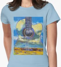 Guitar and Clouds Women's Fitted T-Shirt