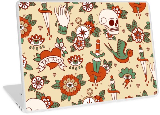 Traditional Old School Tattoo Pattern Laptop Skins By Demonova