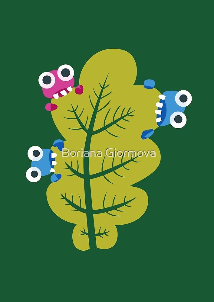 Cute Bugs Eat Green Leaf by Boriana Giormova