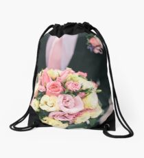 Groom with flower Drawstring Bag