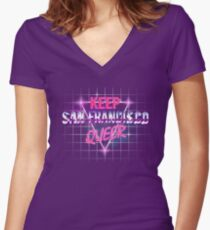 Keep San Francisco Queer Women's Fitted V-Neck T-Shirt