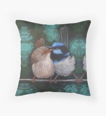 Fairy Wren Pair #1 Throw Pillow