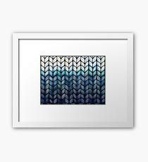 Chunky Ocean Blue Knit Framed Print