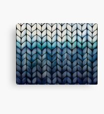 Chunky Ocean Blue Knit Canvas Print