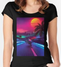 Synthwave Midnight Outrun Women's Fitted Scoop T-Shirt