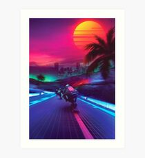 Synthwave Midnight Outrun Art Print