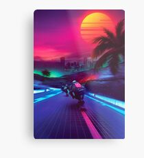 Synthwave Midnight Outrun Metal Print