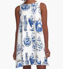 Blue Oriental Vases A-Line Dress