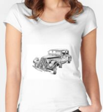 Old classic car retro vintage 03 Women's Fitted Scoop T-Shirt