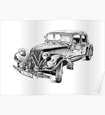 Old classic car retro vintage 03 Poster