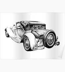 Old classic car retro vintage 04 Poster