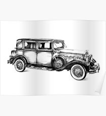 Old classic car retro vintage 05 Poster