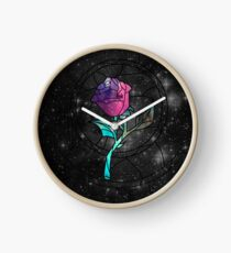 Stained Glass Rose Galaxy Clock