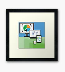 colorful illustration  with modern electronic  mobile devices on green and blue  background Framed Print