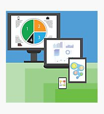 colorful illustration  with modern electronic  mobile devices on green and blue  background Photographic Print