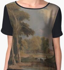 A Wooded River Landscape with Fishermen by James Arthur O'Connor, circa 1830 Women's Chiffon Top