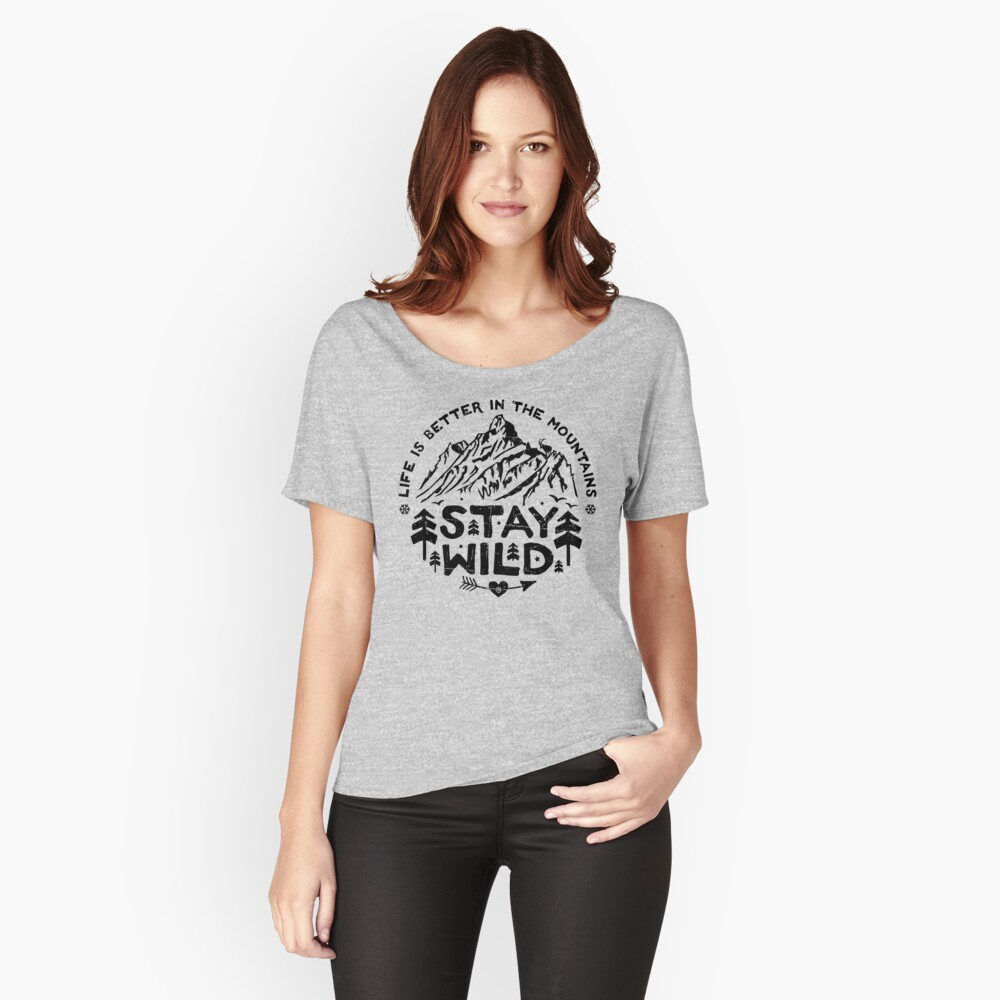 Stay Wild black Relaxed Fit T-Shirt