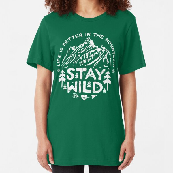 Stay Wild white Slim Fit T-Shirt