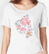 Amelia Floral in Pink and Peach Watercolor Women's Relaxed Fit T-Shirt