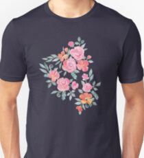 Amelia Floral in Pink and Peach Watercolor T-Shirt