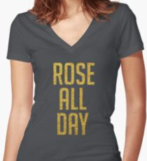 Rose All Day Golden Glitter Women's Fitted V-Neck T-Shirt