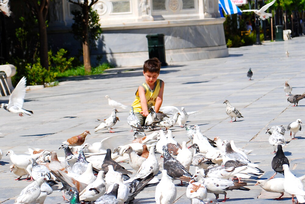 Boy and the Pigeons by Galen  Stone