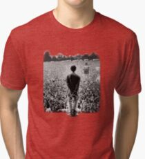 OASIS AT KNEBWORTH - posterized image. ICONIC Tri-blend T-Shirt