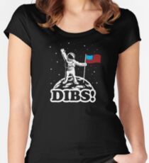 Astronaut Dibs on Moon America Women's Fitted Scoop T-Shirt