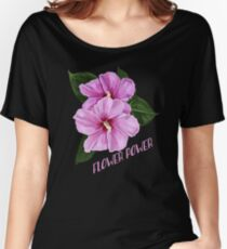 Pink Hibiscus Pattern Women's Relaxed Fit T-Shirt