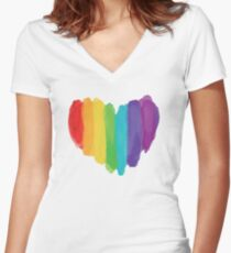 LGBTQ Watercolor Love Heart Women's Fitted V-Neck T-Shirt