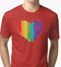 LGBTQ Watercolor Love Heart Tri-blend T-Shirt