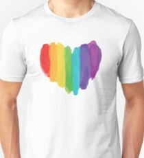 LGBTQ Watercolor Love Heart Slim Fit T-Shirt