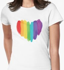 LGBTQ Watercolor Love Heart Women's Fitted T-Shirt