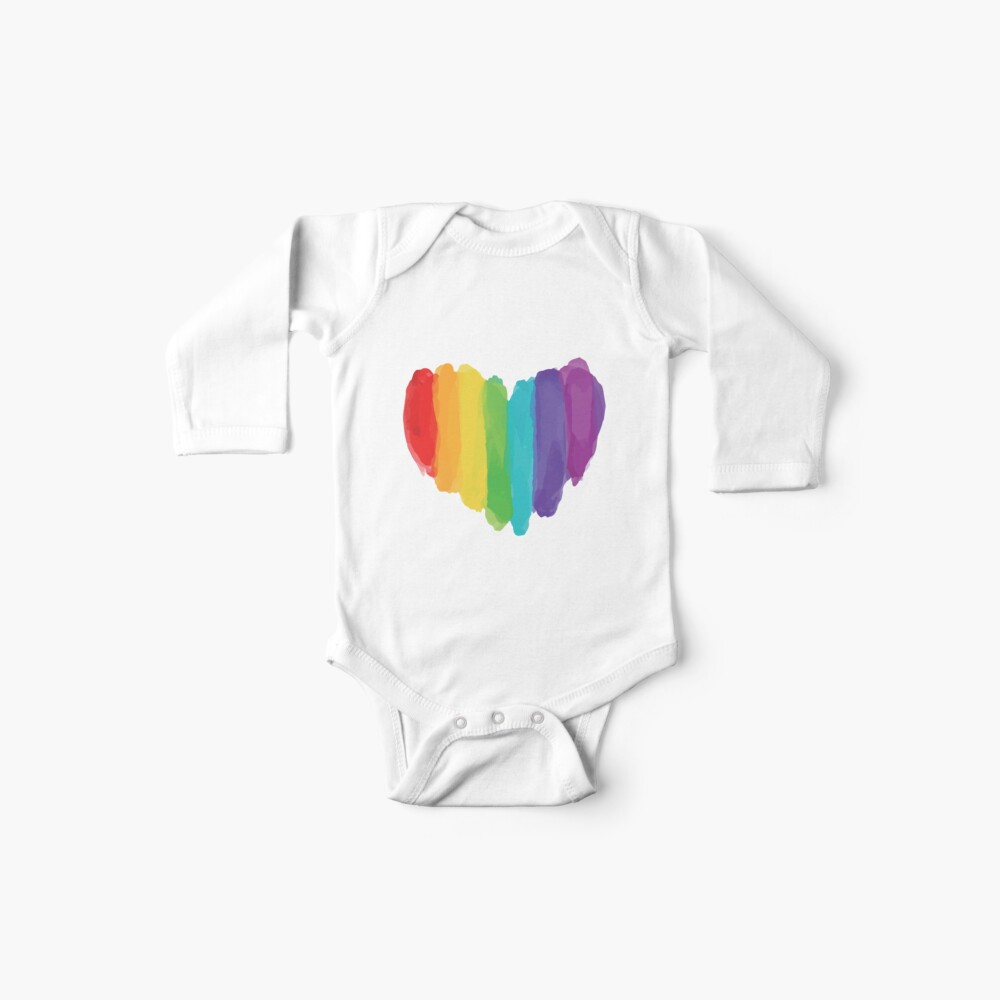 LGBTQ Watercolor Love Heart Baby One-Pieces