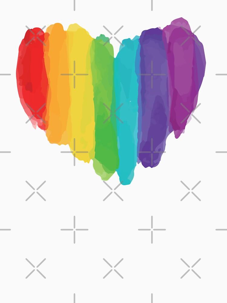 LGBTQ Watercolor Love Heart by SpaceAlienTees