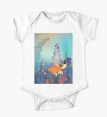 Abstract cartoon colorful underwater background with gold fish Kids Clothes