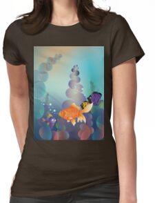 Abstract cartoon colorful underwater background with gold fish Womens Fitted T-Shirt