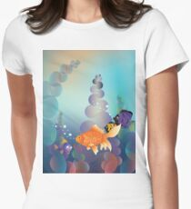 Abstract cartoon colorful underwater background with gold fish T-Shirt